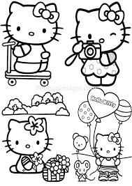 4 Coloriages Hello Kitty Trotinette Ballon Photo Souris Sur
