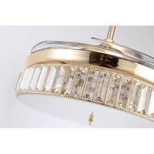 3 colours retractable blade folding ceiling fan led light golden remote control