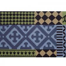 gan kilim siracusa rug blue green black 150x200cm