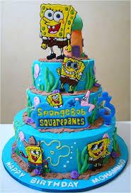 Spongebob Birthday Cakes Cool Blue 2 Tiers Birthday Cake Decorating