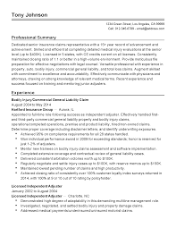 Claims Adjuster Resume Useful Insurance Adjuster Resume In Professional Senior Summary 12