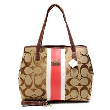 Stylish Coach Hamptons Weekend Signature Stripe Medium Khaki Totes Aew  Online noH7x