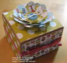 Decorating Boxes With Paper Stampin' Up Kraft Gift Box Decorated with Patio Party Paper 21