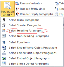 How To Select All Heading Paragraphs In Word