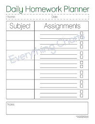 weekly assignment template daily homework planner pdf file printable