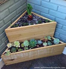 diy tiered wooden corner planter