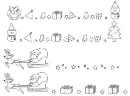 白黒素材モノクロの枠やライン クリスマス無料イラスト