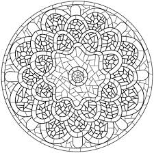 Small Picture Mandala with Mosaic Pattern coloring page Free Printable