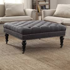round leather tufted ottoman. Black Square Traditional Tufted Fabric Oversized Ott Coffee Living Room Table Designs Sets Furniture Leather With Wheels Cube Round Teal File Storage Extra Ottoman I