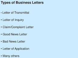 Claim Letters Ppt Types Of Business Letters Letter Of Transmittal Letter