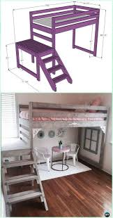 kids bunk bed for girls. DIY Camp Loft Bed With Stair Instructions-DIY Kids Bunk Free Plans  #Furniture Kids Bunk Bed For Girls