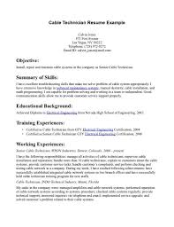 Manificent Design Cable Technician Resume Network Cable Installer