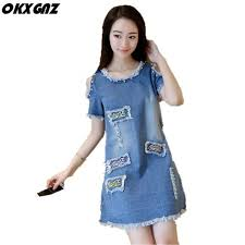 OKXGNZ Summer Wear new Cowboy Women Clothing 2017 Slim Sexy Off Shoulder  Hole Denim Dress Large