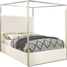 Details about Oleander Contemporary Button-Tufted White Velvet Queen Bed with Chrome Canopy