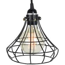 Rustic State Industrial Vintage Style Diy Farmhouse Metal Wire Cage For Hanging Pendant Lighting Light Fixture Lamp Guard Black