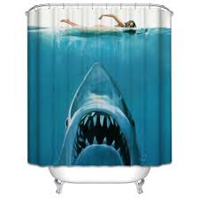 2018 polyester mildew resistant waterproof bath curtain risk jaw white shark pattern shower curtain with hooks bathroom decor from bassy168