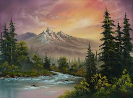 bob ross painting mountain sunset by chris steele