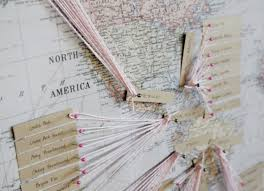 Map Seating Chart Wedding Picture Of A Map Seating Chart With Twine Pins And Tags Is