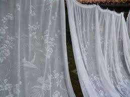 two big vintage french white lace net curtains panels picture windows 68 00