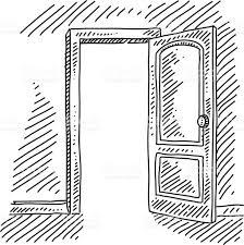Simple Open Door Drawing Concept Royaltyfree Stock Vector Art Inside Design Ideas