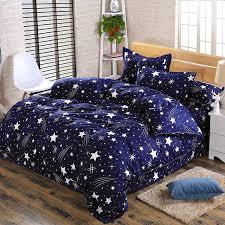 stylish dark blue star pattern beautiful housewares bedding set 4pcs duvet cover set quilt