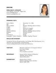 Basic Resume Form Sample Of Resume Format For Job Application Application Format