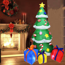 Us 57 99 42 Off Ornaments Xmas New Year Garden Decoration Led Lights Outdoors Inflatable Christmas Tree With Gift Boxes Yard Home Decorations On