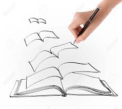 hand drawing open flying book stock photo 19138735