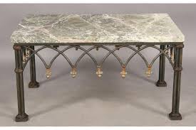 coffee table wrought iron coffee table with marble top hammered crescent base with santa cecilia