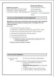 Good CV Formats Free B.M.S.