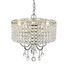 emliviar modern 5 light chrome round metal shade crystal chandelier pendant light hanging ceiling lighting fixture 0938p 5ch
