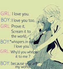 Love Anime Quotes Unique Because You Are My World On We Heart It