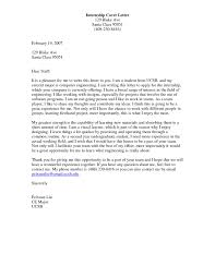 Cover Letter For Internship Position Engineering Cover Letter