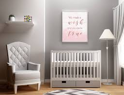 baby girl nursery decor we made a wish and you came true newborn gift baby girl gift nursery print baby girl shower gift rose gold