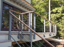 steel cable railing. Residential Exterior Cable Railings And Stair Construction Regarding Stainless Steel Railing Plans 15 D