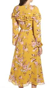 Details About Wayf Womens Dress Gold Multi Size Medium M Maxi Wrap Floral Print 95 677