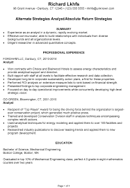Resume Sample for an Alternate Strategies Analyst