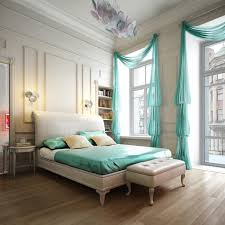 Stylish Curtains For Bedroom Fashionable Bedroom With Green Curtains And Bed Cover And Wooden
