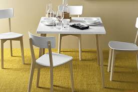 CB4735-Q Jelly 80 - Square table in whitened beech wood, optic white  laminate