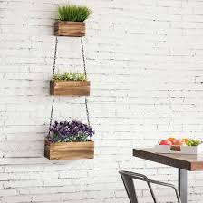 rustic wood wall hanging planter boxes