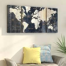 3 piece wall art old world map blue 3 piece graphic art print set on wrapped
