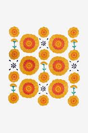 Marigold Floral Design Marigold Print Pattern Embroidery Patterns Free