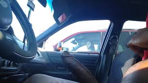 Flashing big black cock to a lady in a car voyeurstyle
