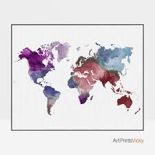 World Map Posters Large World Map Poster Colorful World Map Print World Map Watercolor Travel Map World Map Home Decor Wedding Guest Book Artprintsvicky