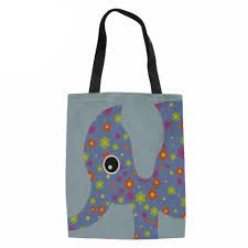 Elephant Designer Bag Large Capacity Shopping Bags Foldable Ladies Funny Elephant Printed Handmade Shoulder Bag For Females Reusable Storage Cheap Handbags Cheap Designer
