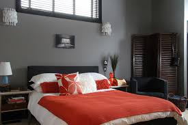 Black White Purple Bedroom Tags : Classy Gray And Orange Bedroom