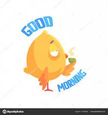 Guten Morgen Lustige Cartoon Comic Huhn Kaffee Oder Tee Zu Trinken