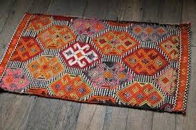 2x3 kilim rug bright little rug orange pink purple small traditional rug handwoven mat home painting