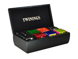 twinings black wooden tea box 8 compartment filled