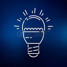 vector square blue icon lighting bulb. LED Light Bulb Icon. Sign. Symbol. Thin Vector Square Blue Icon Lighting T
